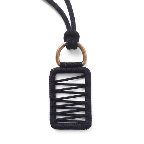 Image of pendant woven necklace #1643, color 1S, 3S or 10B (limestone/silver, garnet/silver or carbon/bronze)