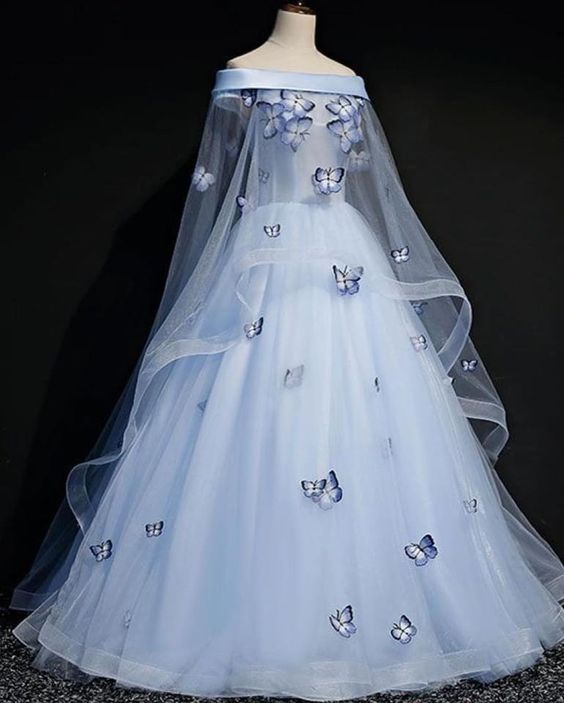 Blue Tulle Long Sweet 16 Gown, Light Blue Ball Gown Party Dress