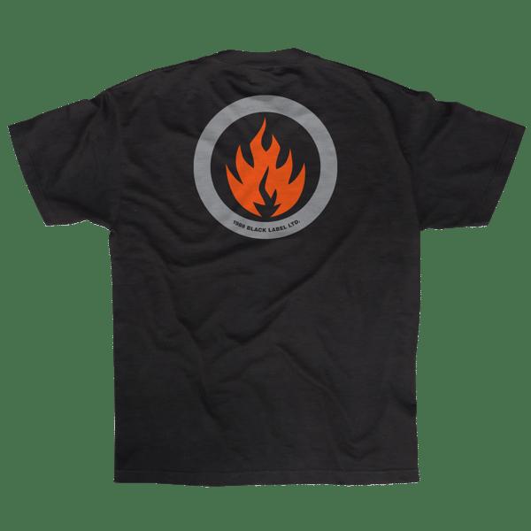 Image of CIRCLE FLAME SHORT SLEEVE TEE BLACK/ ORANGE/ GREY