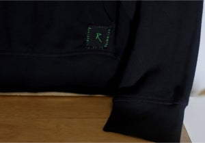 """Image of RZN by RB """"Emeralded"""" 1/1 pullover black hoodie"""