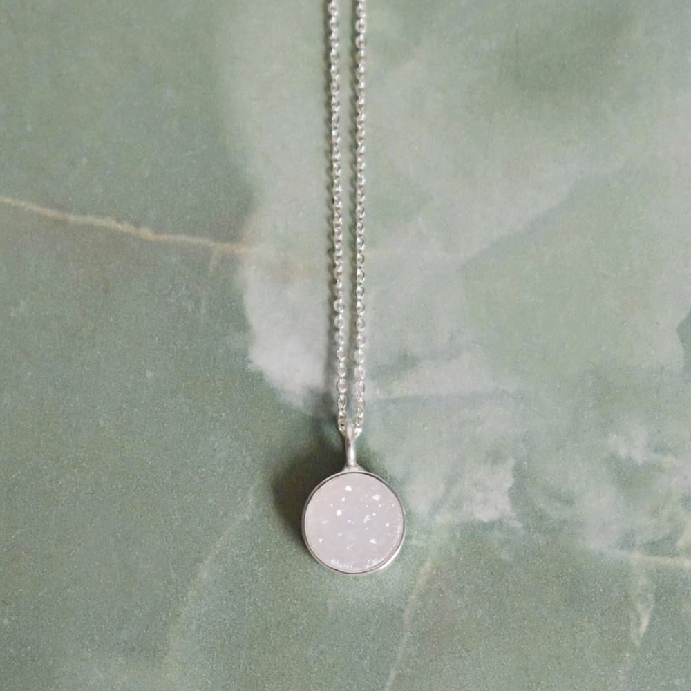 Image of White Agate Druzy silver necklace