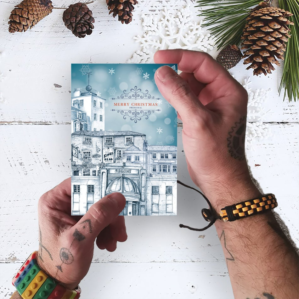 Image of Pack of SIX Deal Town Christmas Cards
