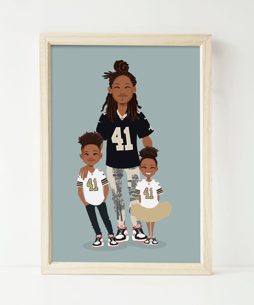 Image of Dad and kids custom portrait