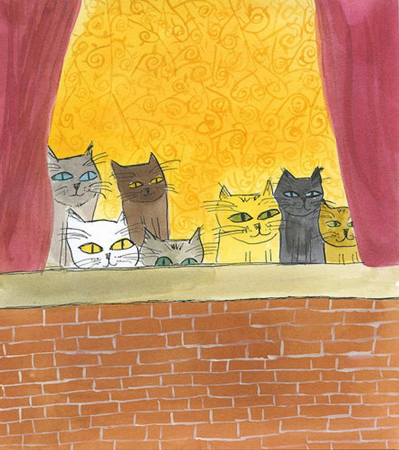 Image of Watching birds, their favorite pastime. Limited edition print.