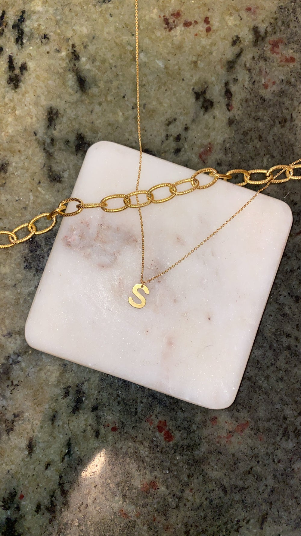 Image of INITIAL CHARM NECKLACE (STAINLESS STEEL GOLD PLATED)