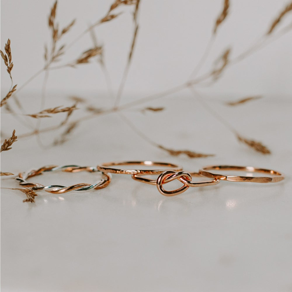 Image of 9ct Rose Gold & Silver Twisted Stacking Ring