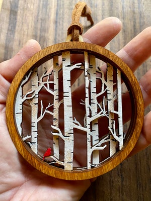 Image of Stacked Woodland Ornament - Birch and Cardinal (single)