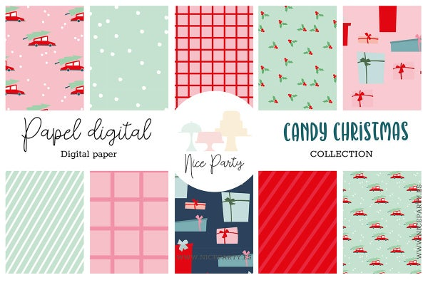 Image of Pack papel estampado Candy Christmas