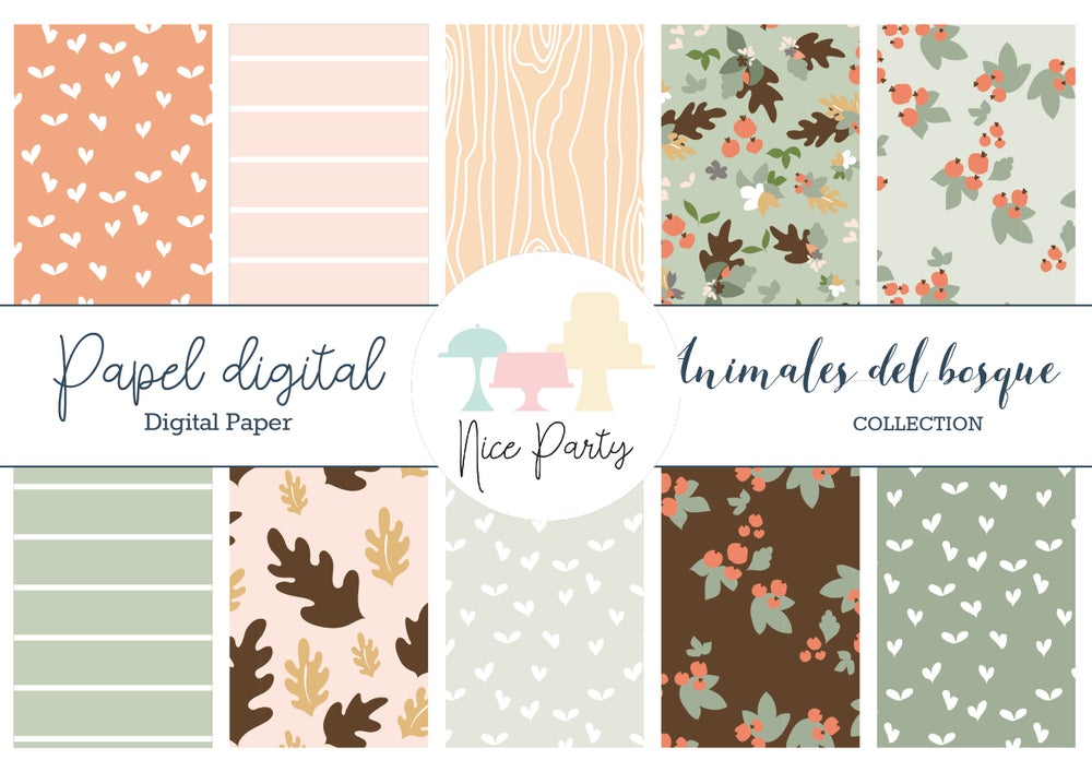 Image of Pack papel estampado animales del bosque