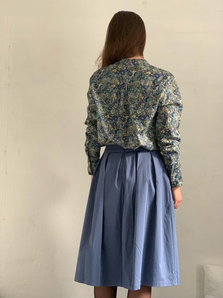 Image of Blå / grå nederdel i bomulds satin
