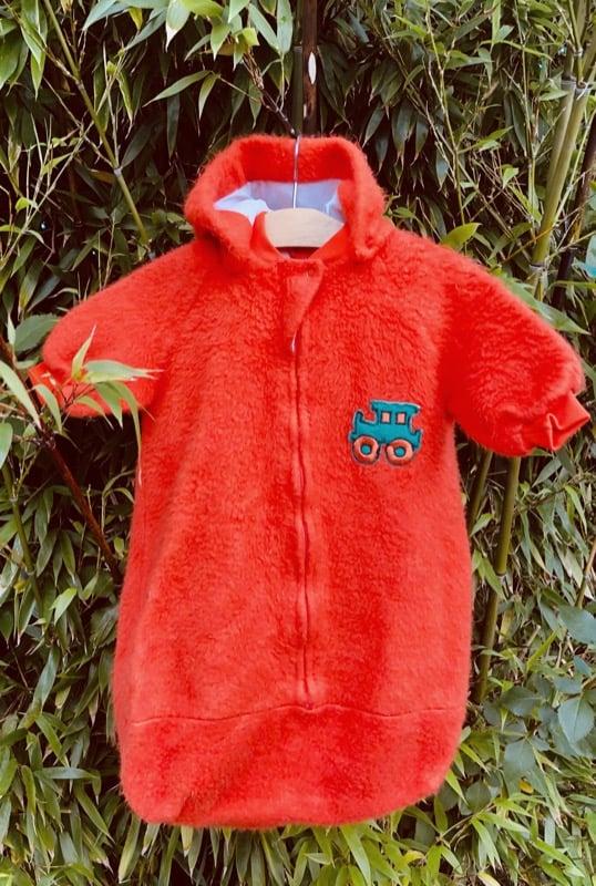Image of Orange fleece, buggy suit. Age 0-4 months.