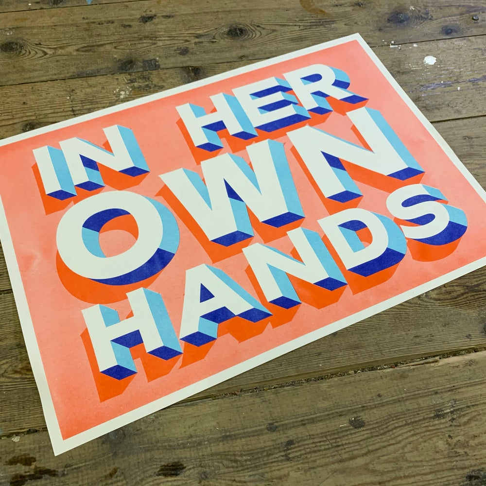 Image of 'In Her Own Hands' A3 Riso Print