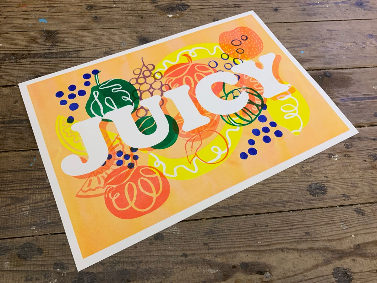 Image of 'JUICY' A3 Riso Collab Print