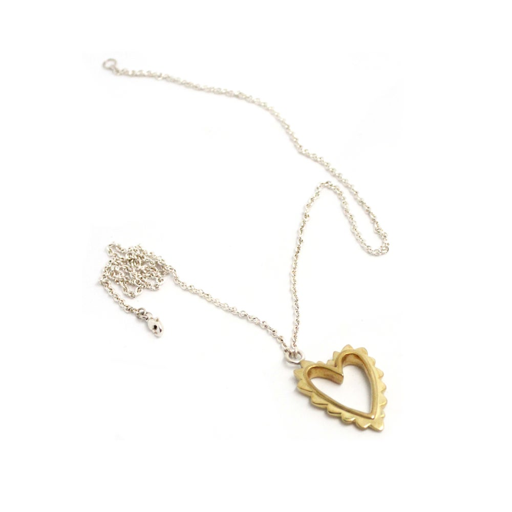 Image of CHUBBY WAVED HEART NECKLACE