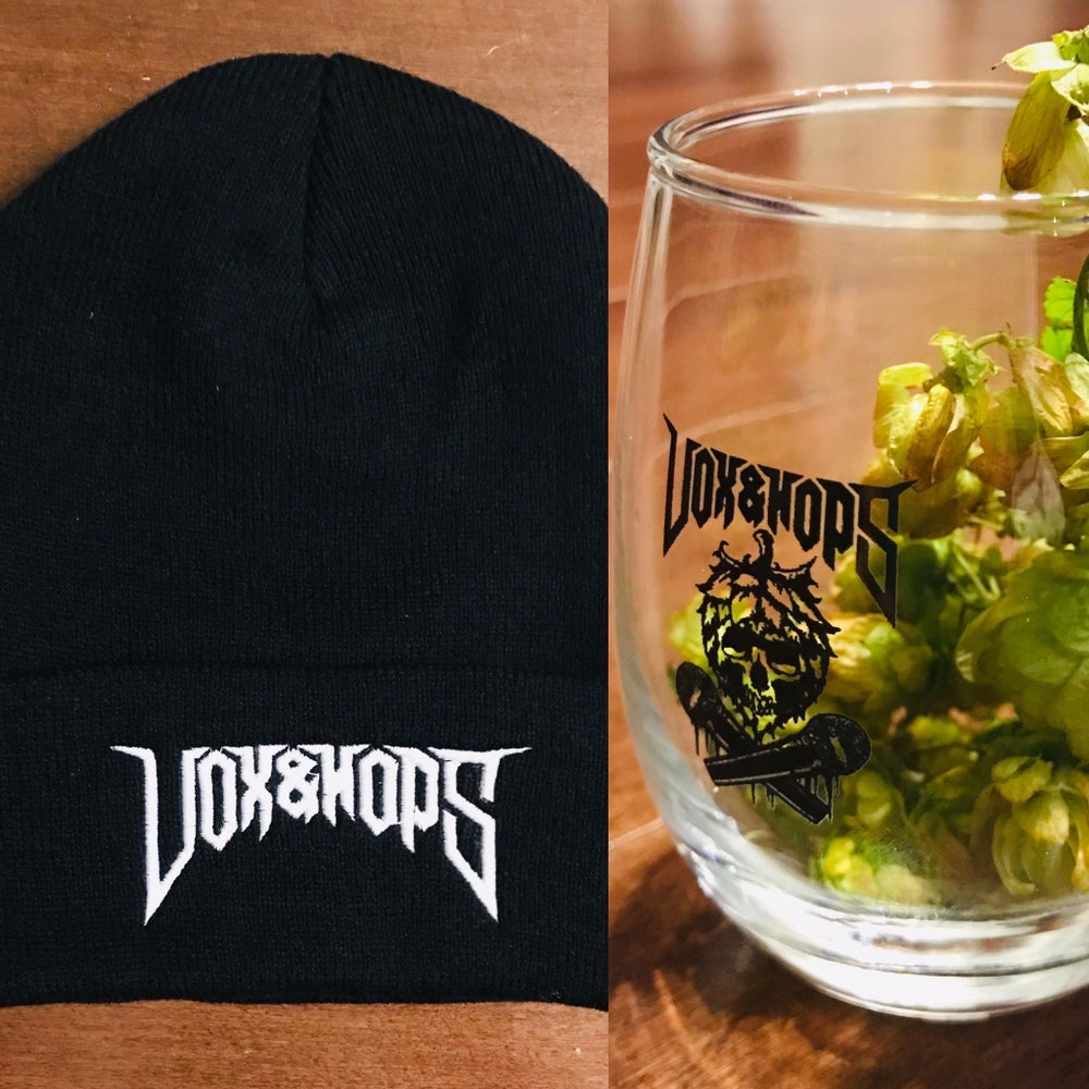 Image of VOX&HOPS CUFFED KNIT BEANIE x VOX&HOPS 9OZ GLASSWARE