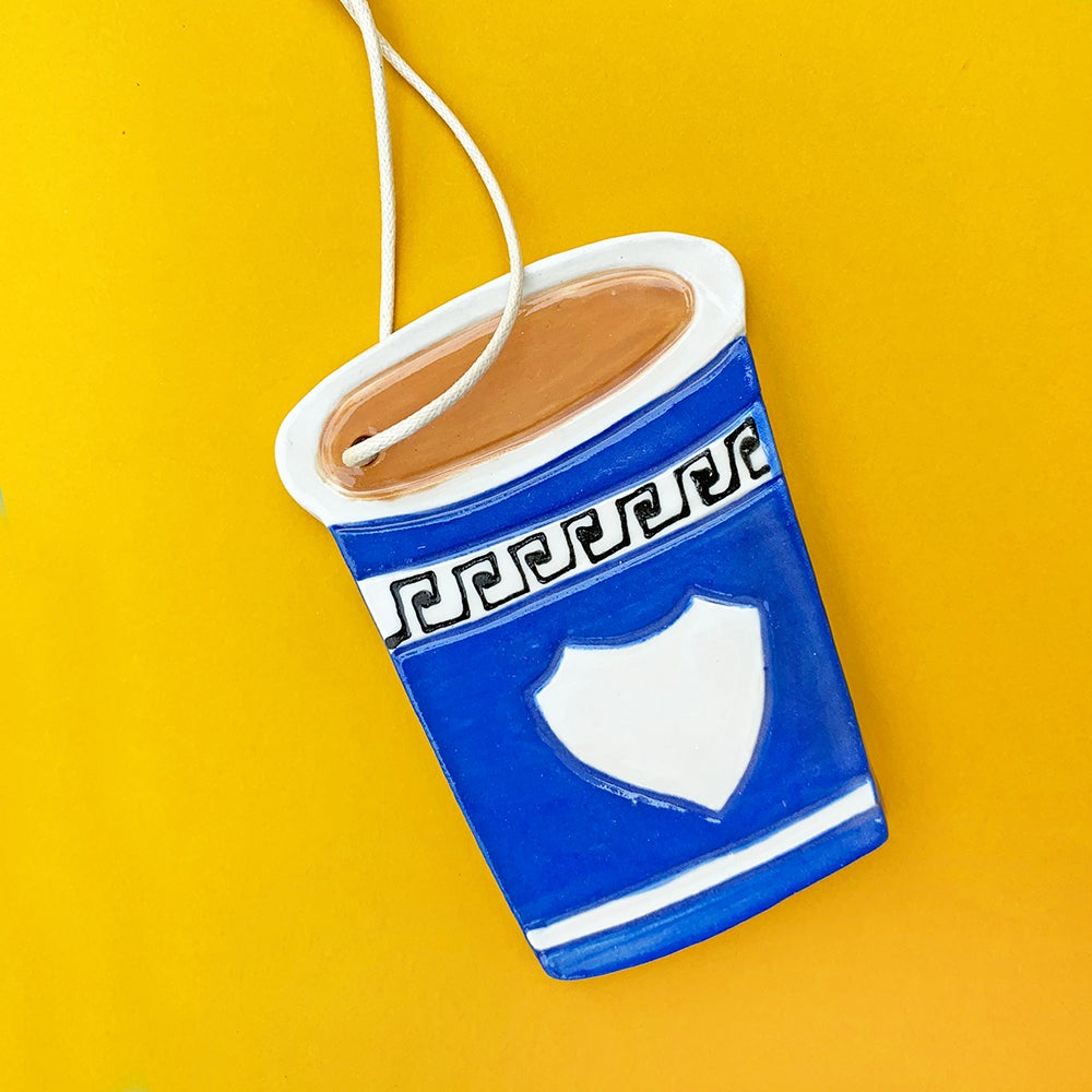 Coffee Cup Ceramic Ornament