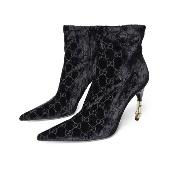 Image of Gucci by Tom Ford Velvet Bamboo Heel Boots