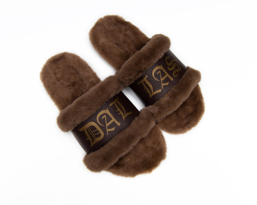 Image of DALLAS COGNAC SLIPPERS (NOW SHIPPING)