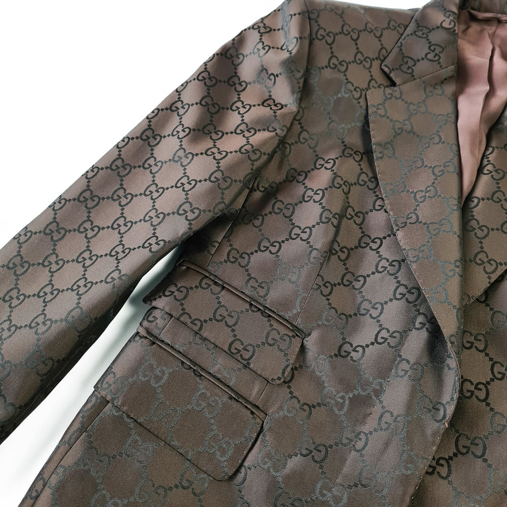 Image of Gucci by Tom Ford 1998 Monogram Suit Blazer