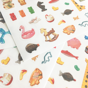 Image of Animal Object Clear Sticker Sheet