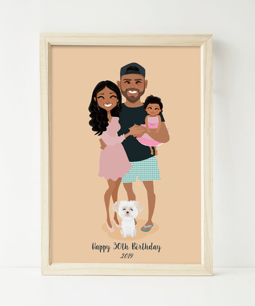 Image of Family of 3 with pets custom portrait