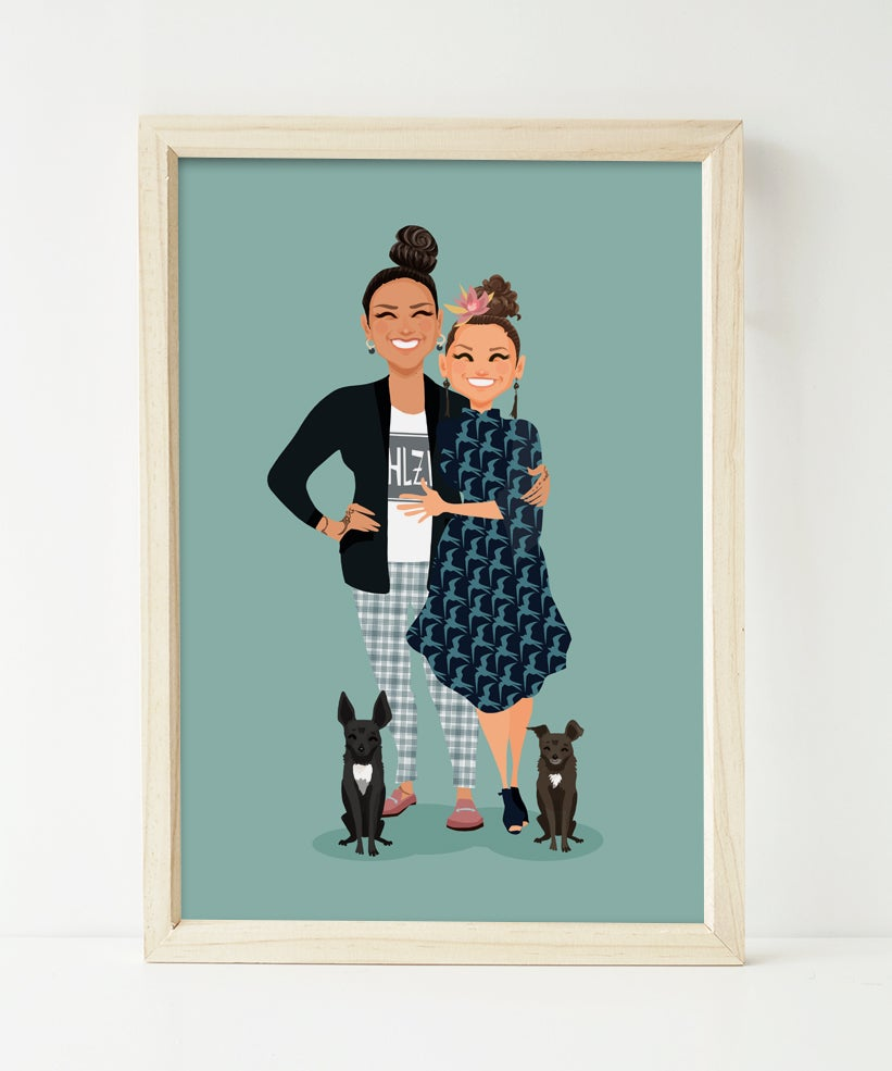Image of Couple Custom Portrait and 2 pets