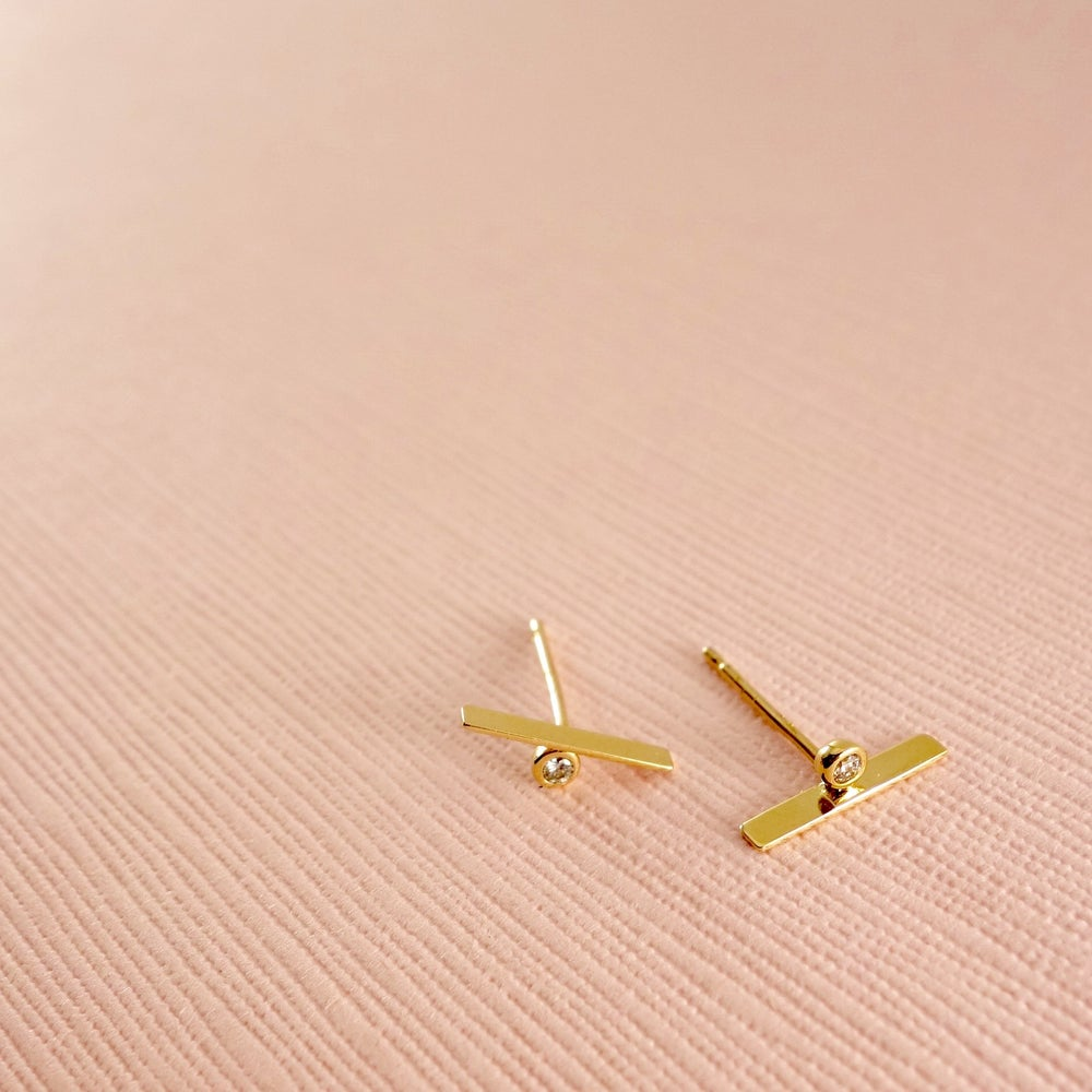 Image of Modern Diamond Bar Studs-14k