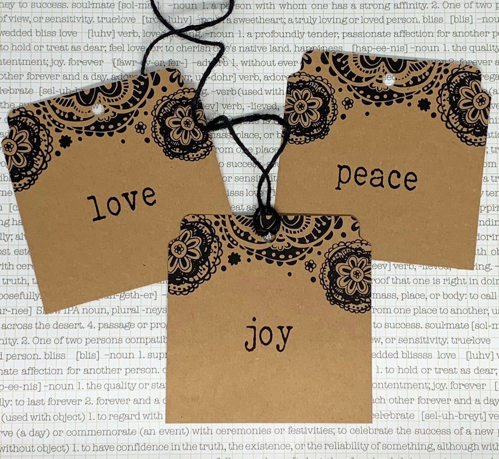 Image of peace*love*joy square christmas gift tags
