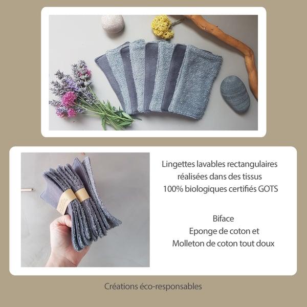 Image of Pack de 4 lingettes rectangulaires double face 100% biologiques