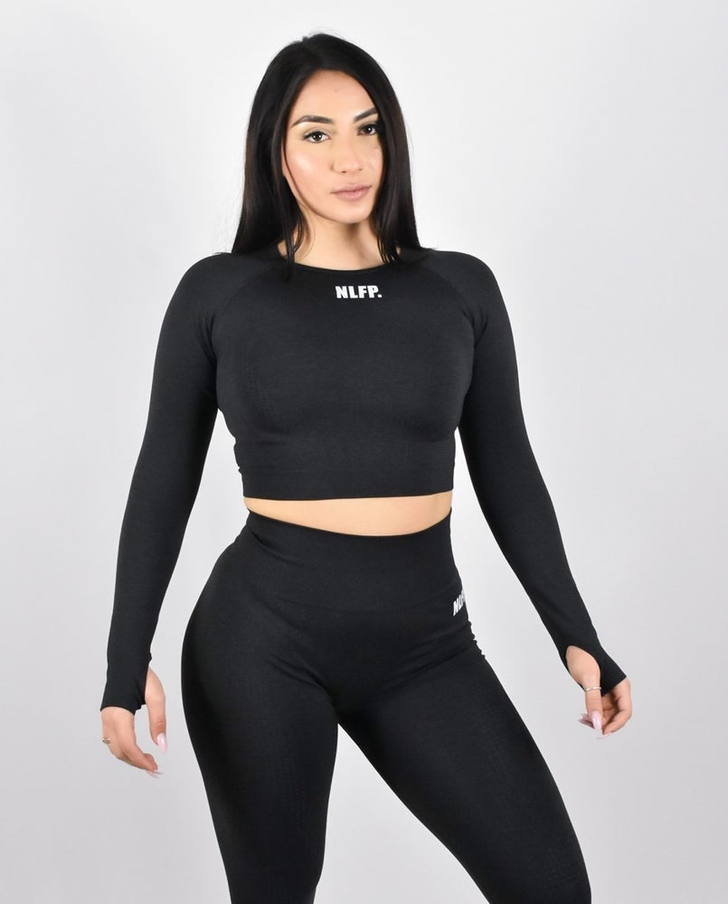 Image of RIANA LONG SLEEVE CROP TOP BLACK