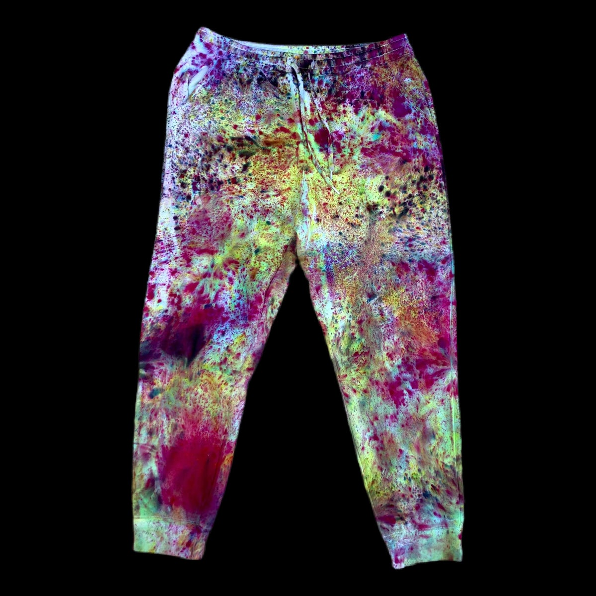 Custom Hand Dyed Fleece Joggers!! - Purple/Green
