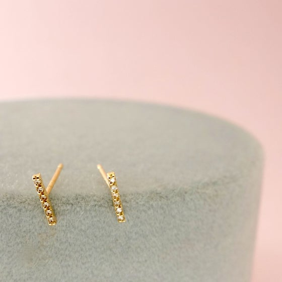 Image of Diamond Bar Studs-14k