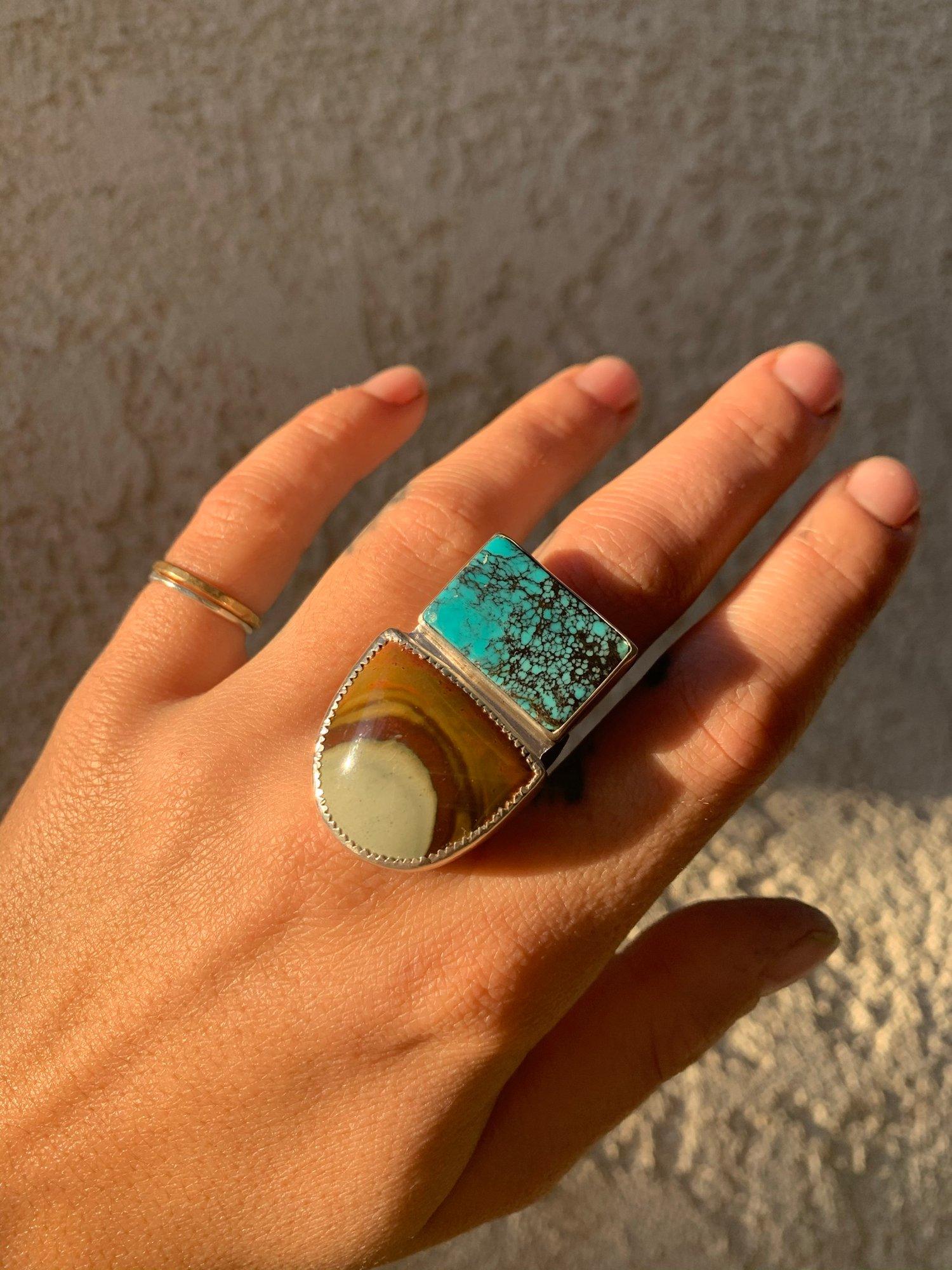 Image of Bao Canyon Turquoise & Landscape Jasper Ring