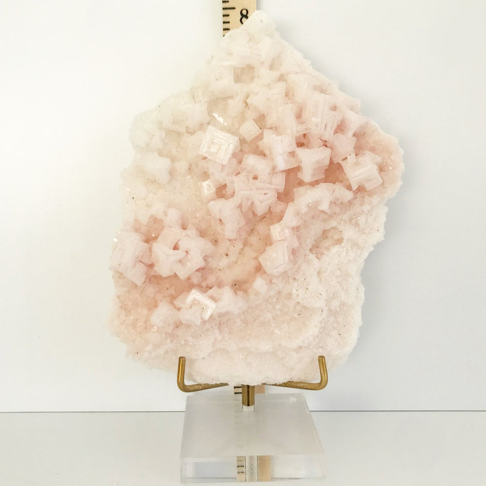 Image of Pink Halite no.45 + Lucite and Brass Stand