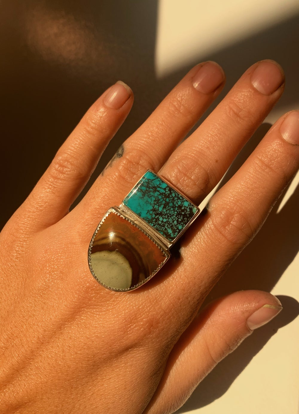 Image of Bao Canyon Turquoise & Landscape Jasper Ring