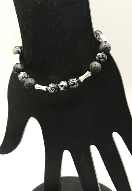 Image of Black Lava and Pewter Tubes Bracelet
