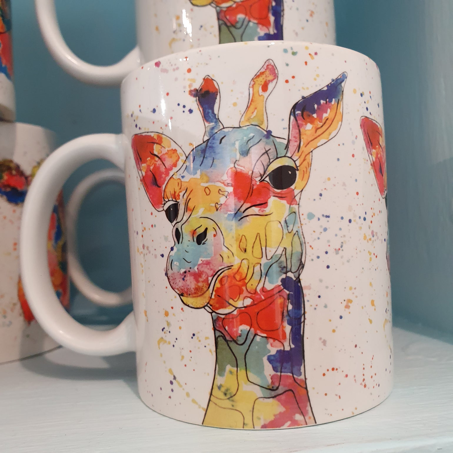 Image of Rainbow Giraffe Mug & Coaster Set