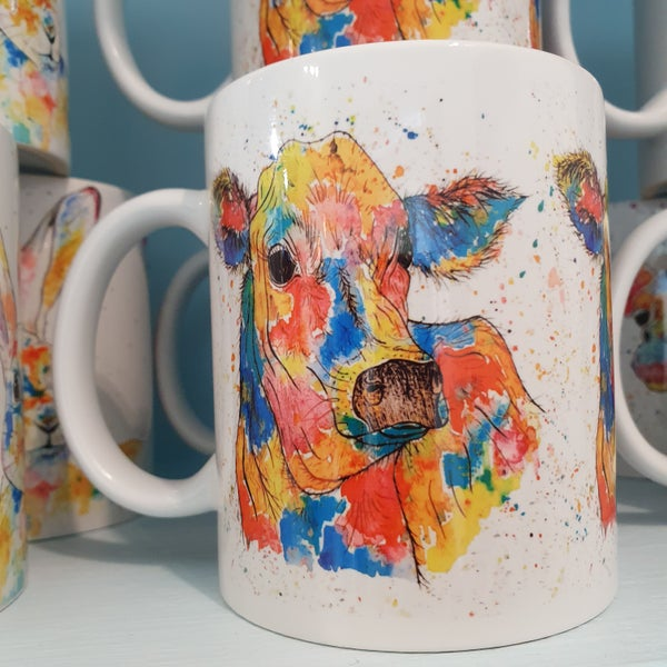 Image of Rainbow Cow Mug & Coaster Gift Set