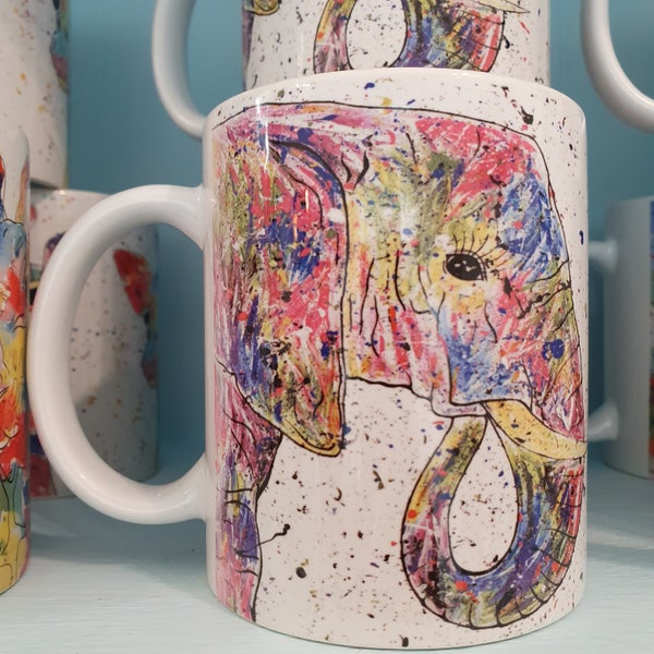 Image of Rainbow Elephant Mug & Coaster Gift Set