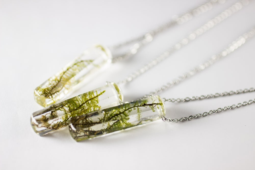 Image of Limited Time Rectangular Grave Moss Necklaces!