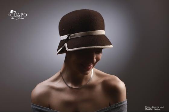 Image of Mango, Chapeau cloche femme en feutre chocolat  - Les Chapo de Caro