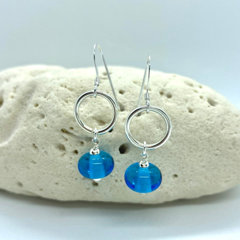 Image of Transparent Turquoise Ring Earrings