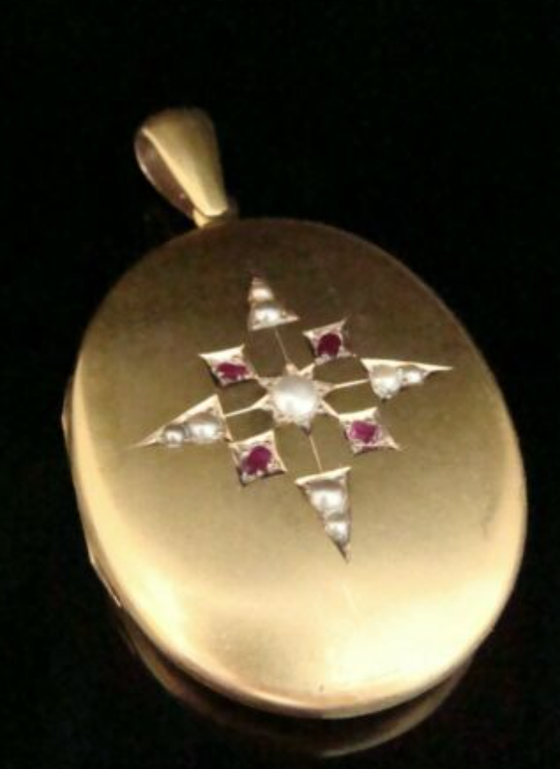 Image of VICTORIAN 15CT HIGH CARAT LARGE RUBY CULTURED PEARL LOCKET PENDANT 24.3g