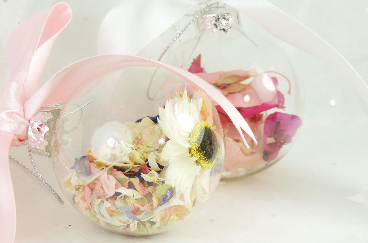 Image of Handmade Luxury Glass Dried Petal Baubles