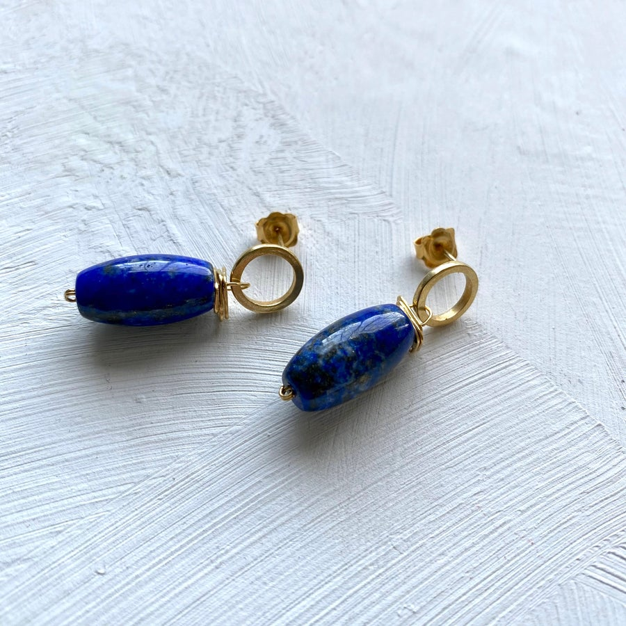Image of Indian summer Earrings Lapis Lazuli