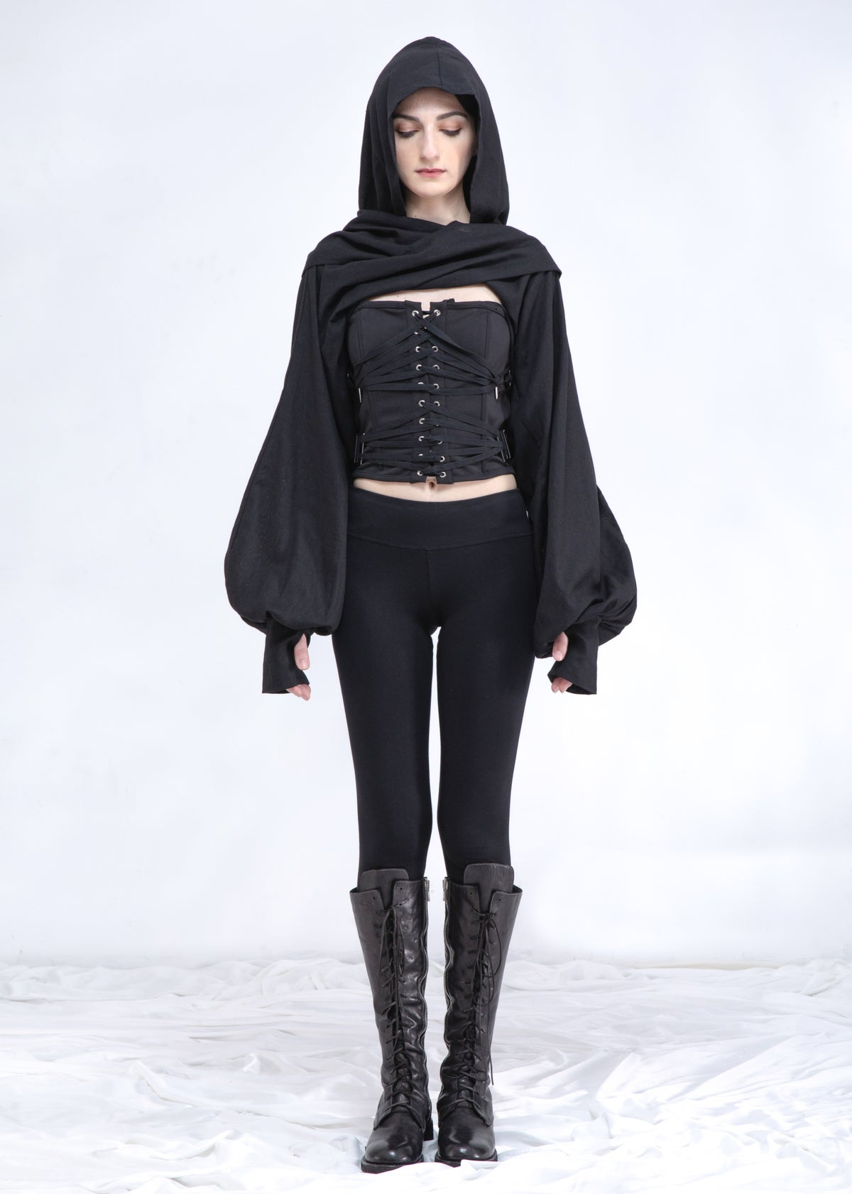 Image of Hooded Wrap Shrug With Balloon Sleeve In Black