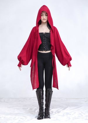 Image of Hooded Wrap Shrug With Balloon Sleeve In Ruby