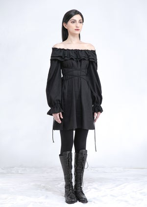 Image of  Two Way Off Shoulder Ruffle Top In Black