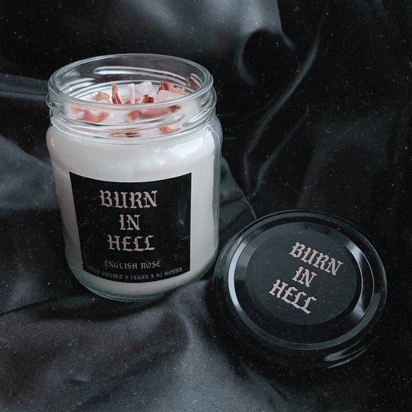 Image of Rose Quartz candle by Burn in Hell Candle Co