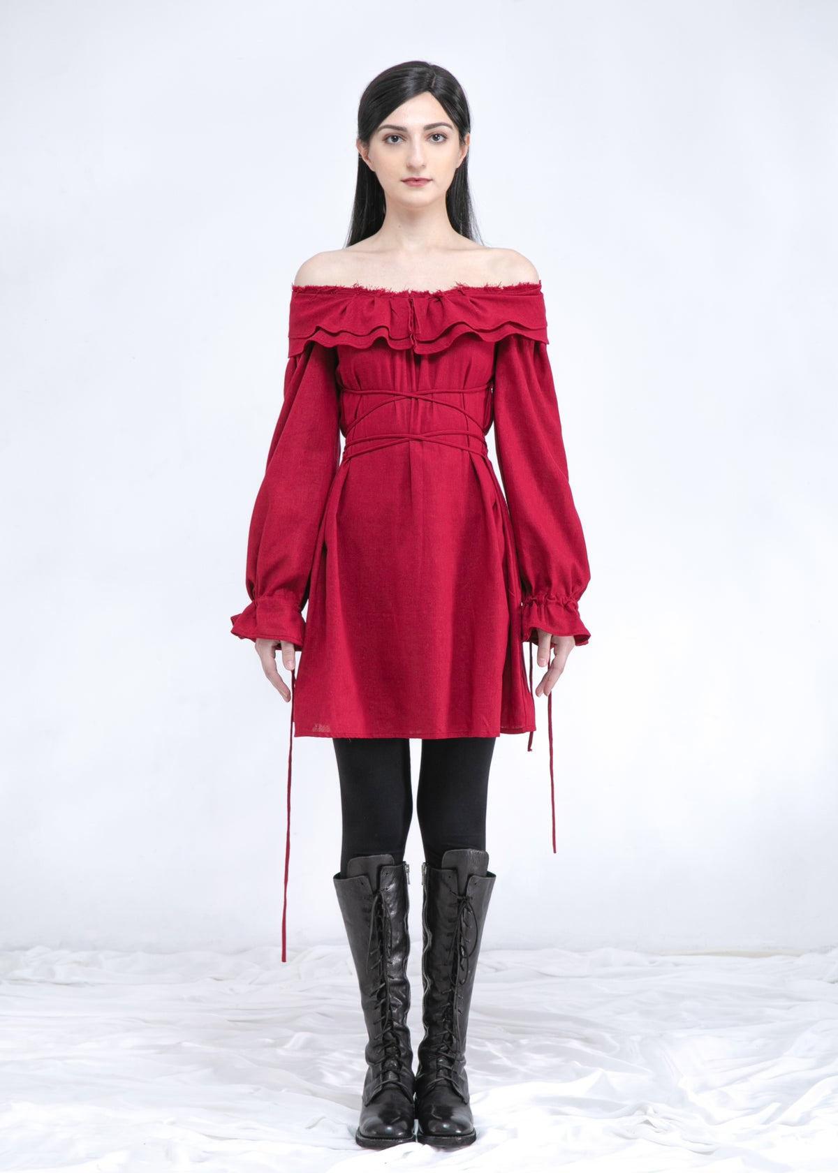 Image of  Two Way Off Shoulder Ruffle Top In Ruby